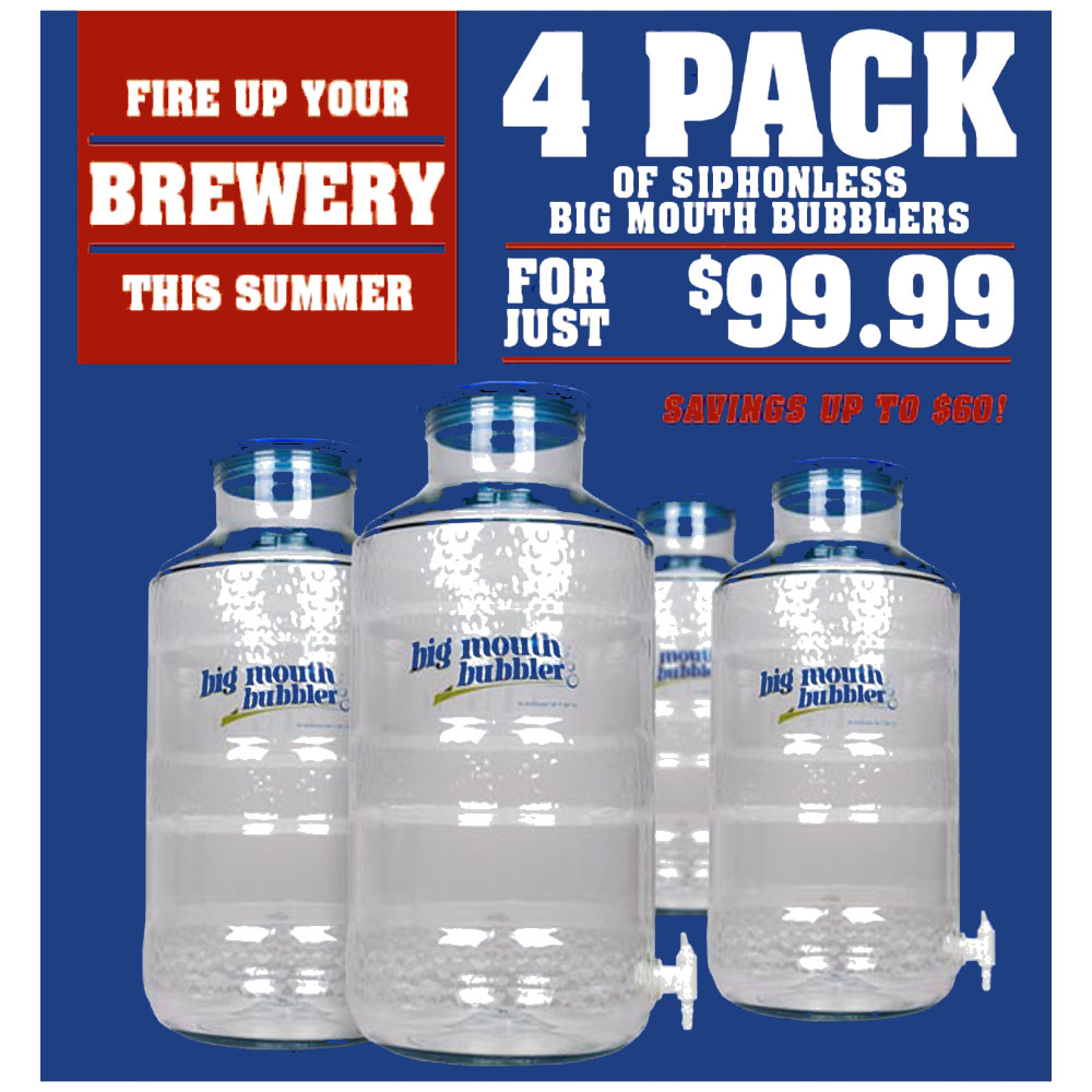 Home Brewer Promo Code for Get Four Big Mouth Bubbler fermentors for $99.99 Coupon Code