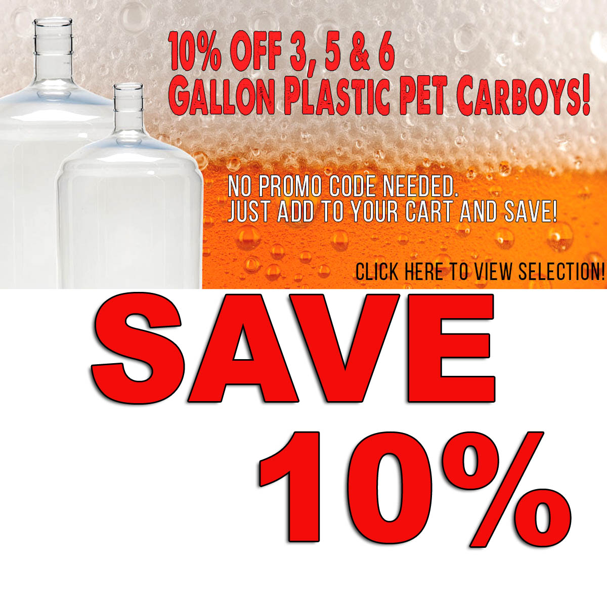Home Brewer Promo Code for Save 10% On PET Plastic Carboys + Free Shipping Over $59 Coupon Code