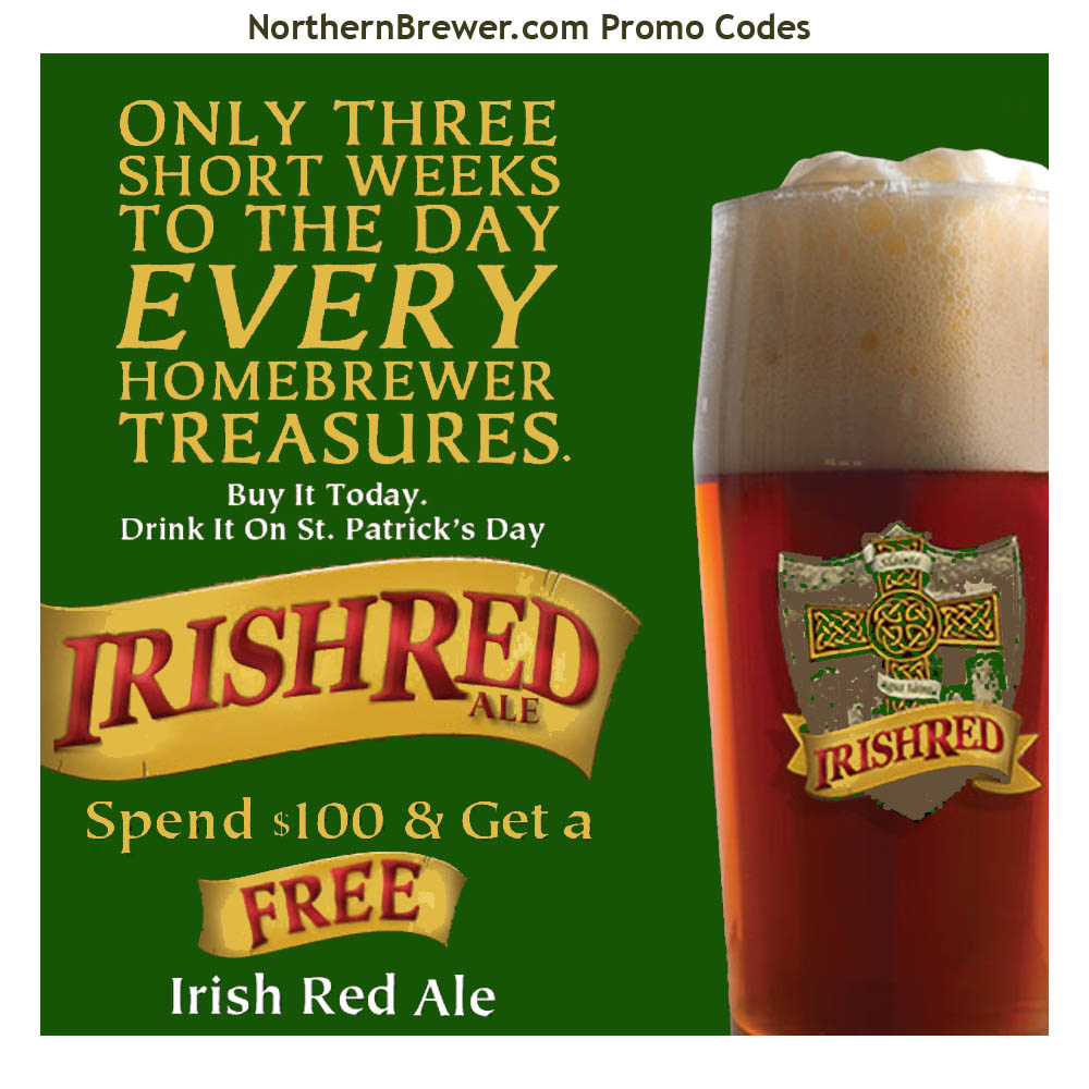 Home Brewer Promo Code for Free Irish Red Ale Homebrew Kit on Orders Over $100 Coupon Code