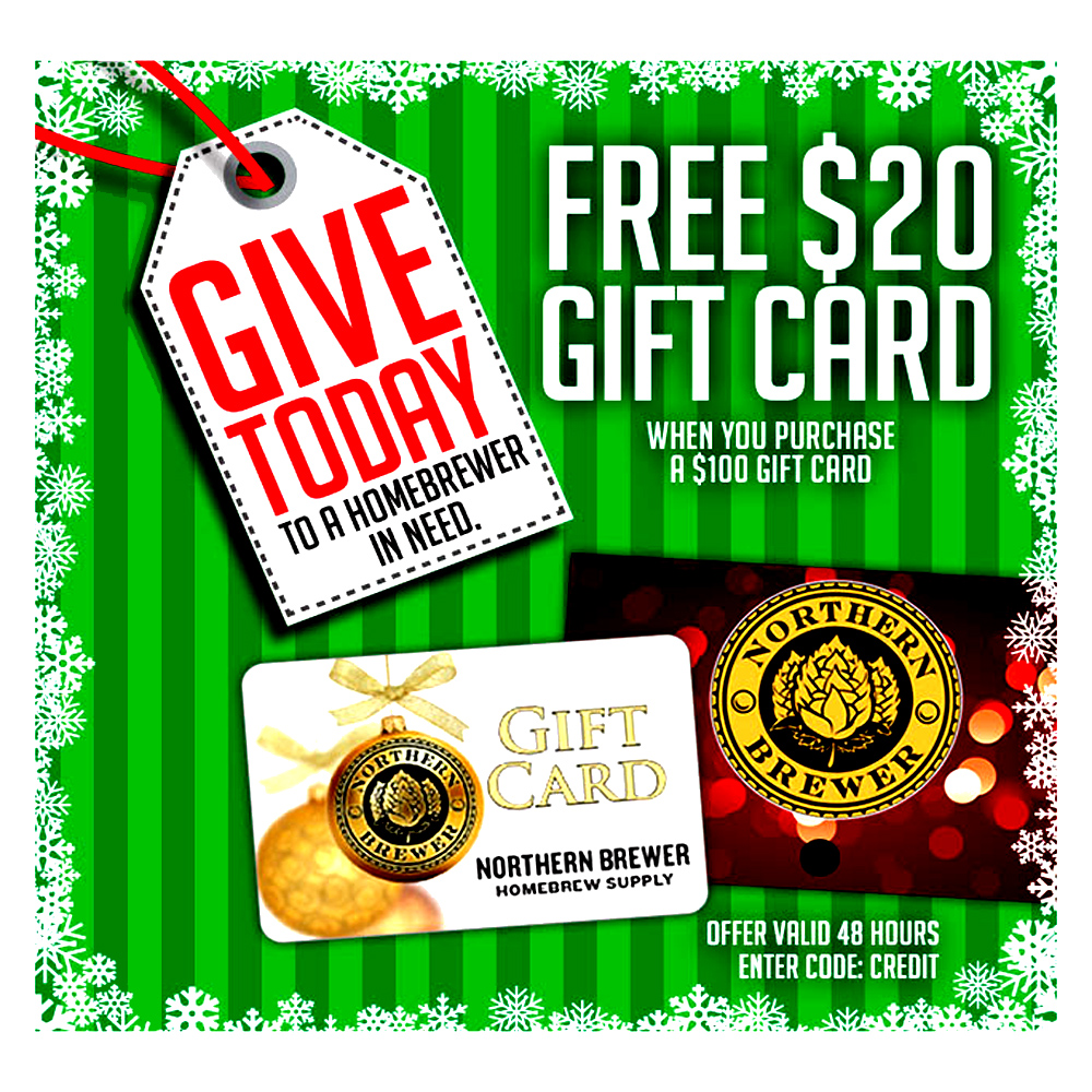 Home Brewer Promo Code for Get a Free $20 Giftcard with the purchase of a $100 Giftcard Coupon Code