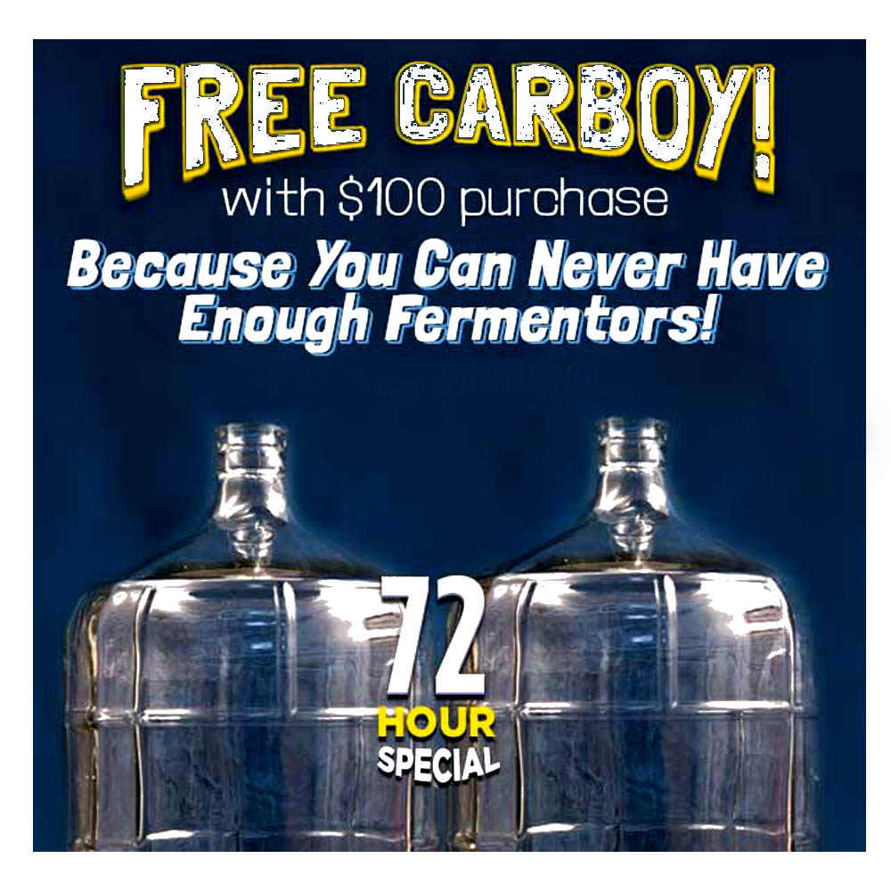 Home Brewer Promo Code for Spend $100 at NorthernBrewer.com and Get A Free Glass Carboy Coupon Code