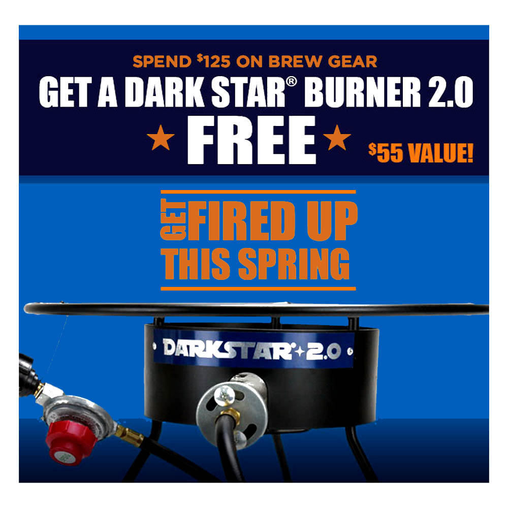Home Brewer Promo Code for Spend $125 and get a Free Dark Star Home Brewing Burner Coupon Code