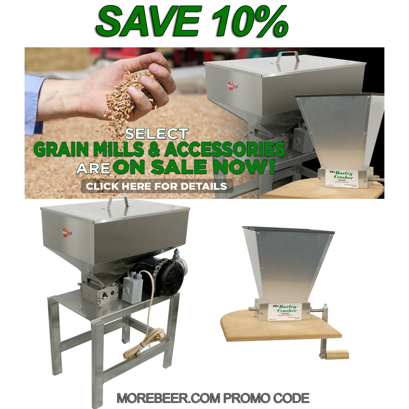 Home Brewer Promo Code for Save 10% On MoreBeer Grain Mill Products Coupon Code