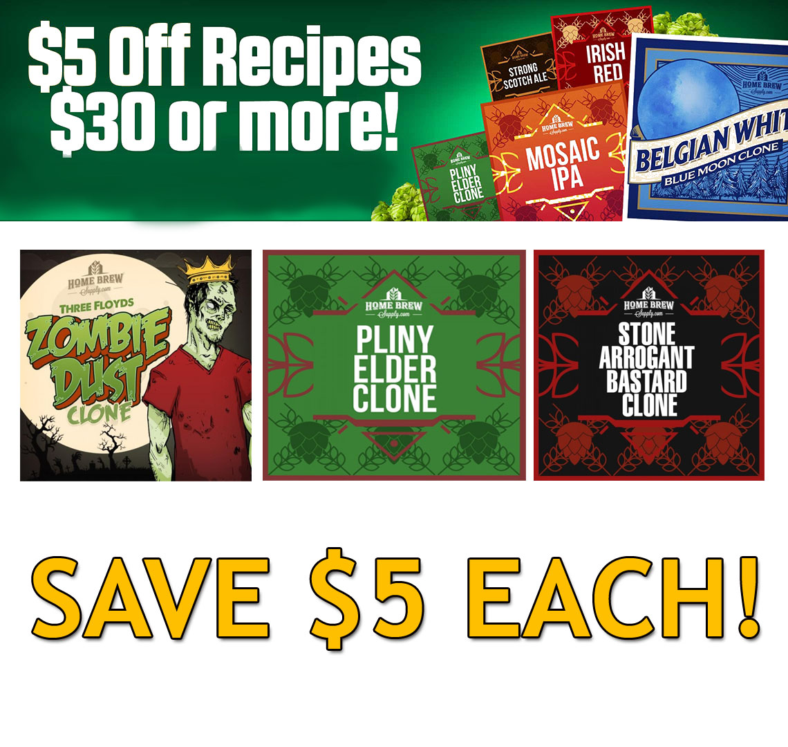 Homebrew Supply $5 Off Any Home Brewering Beer Recipe Kit That Cost $30 or More Coupon Code