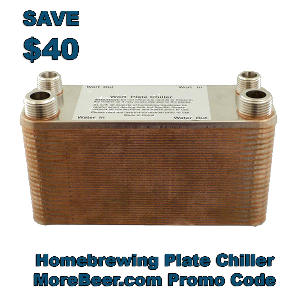 MoreBeer Save $40 on a 40 Plate Wort Chiller Coupon Code