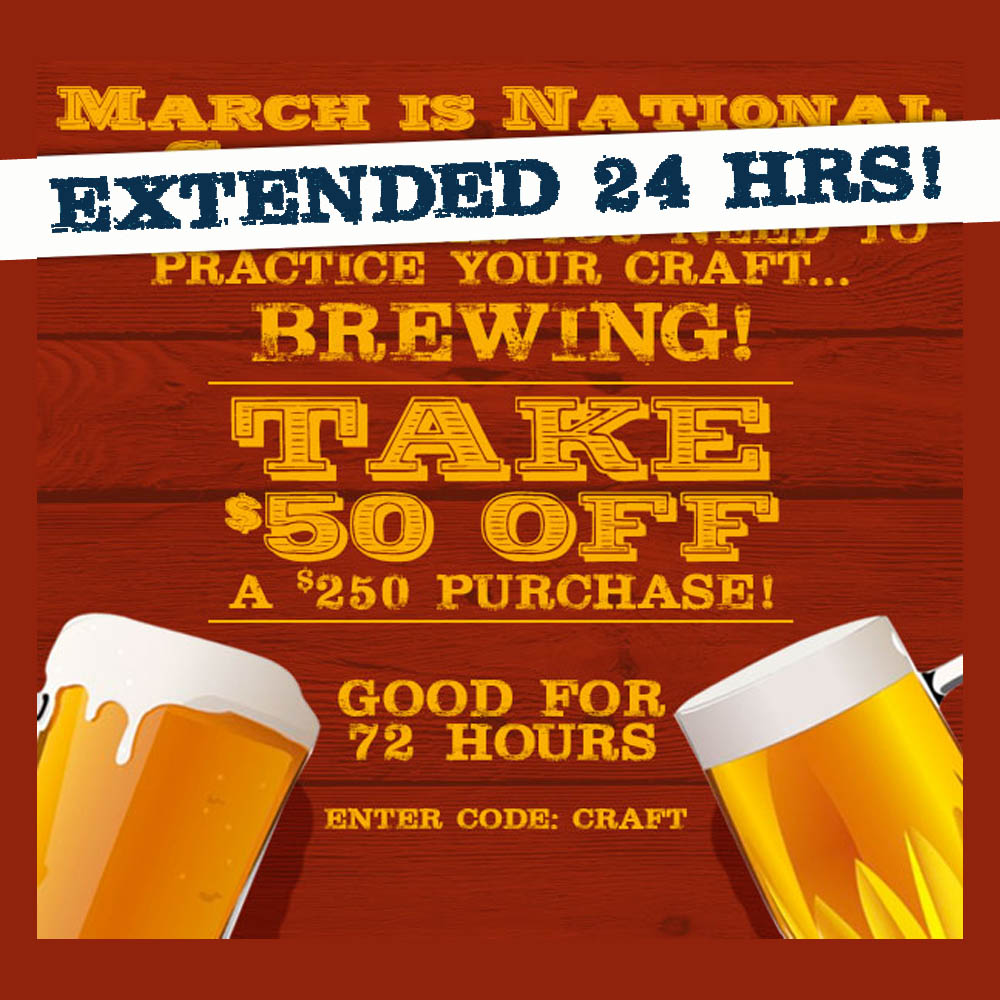 Home Brewer Promo Code for Take $50 OFF Orders of $250 or More with this NorthernBrewer.com Coupon Coupon Code