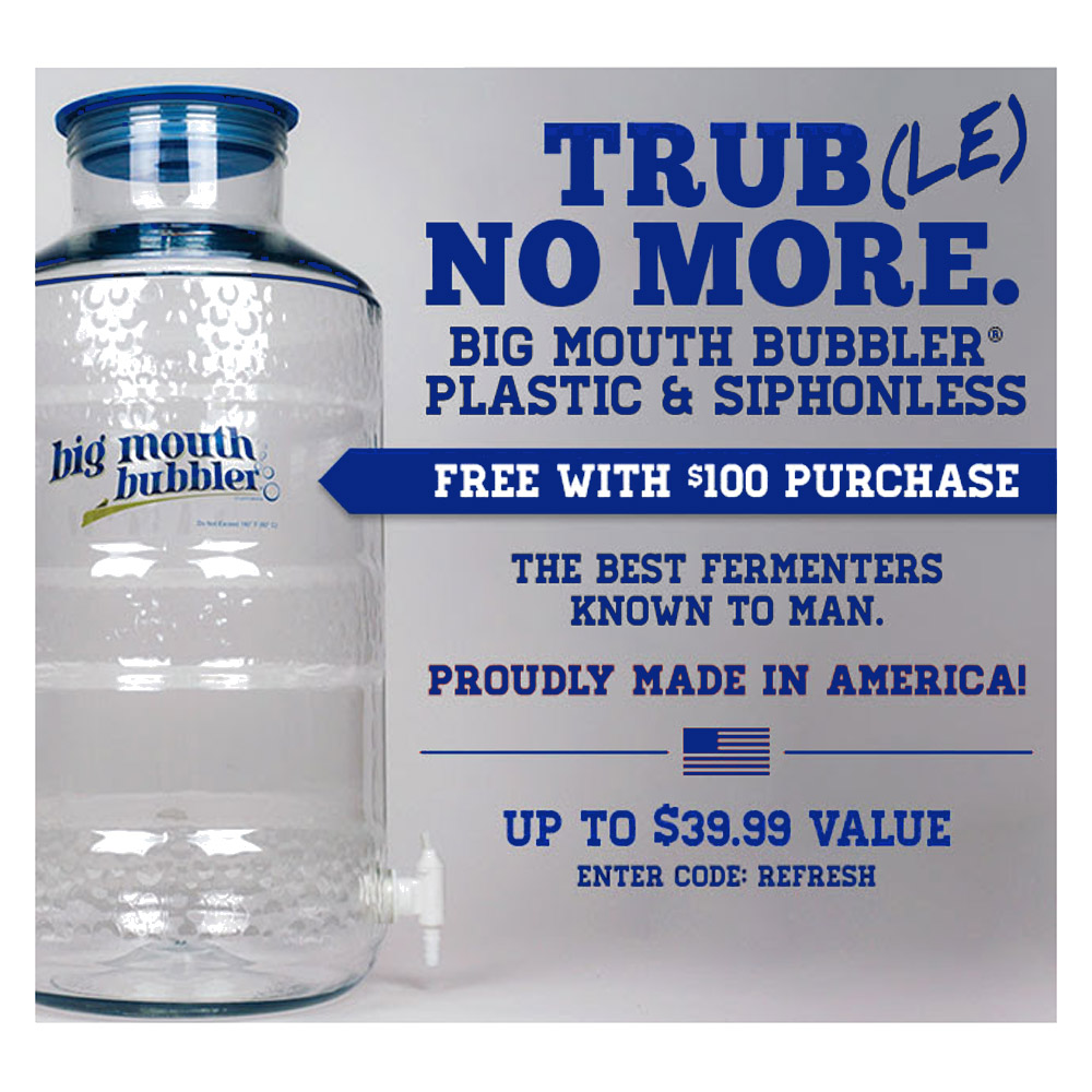 Midwest Supplies Spend $100 and get a Free Big Mouth Bubbler Homebrewing Carboy Coupon Code