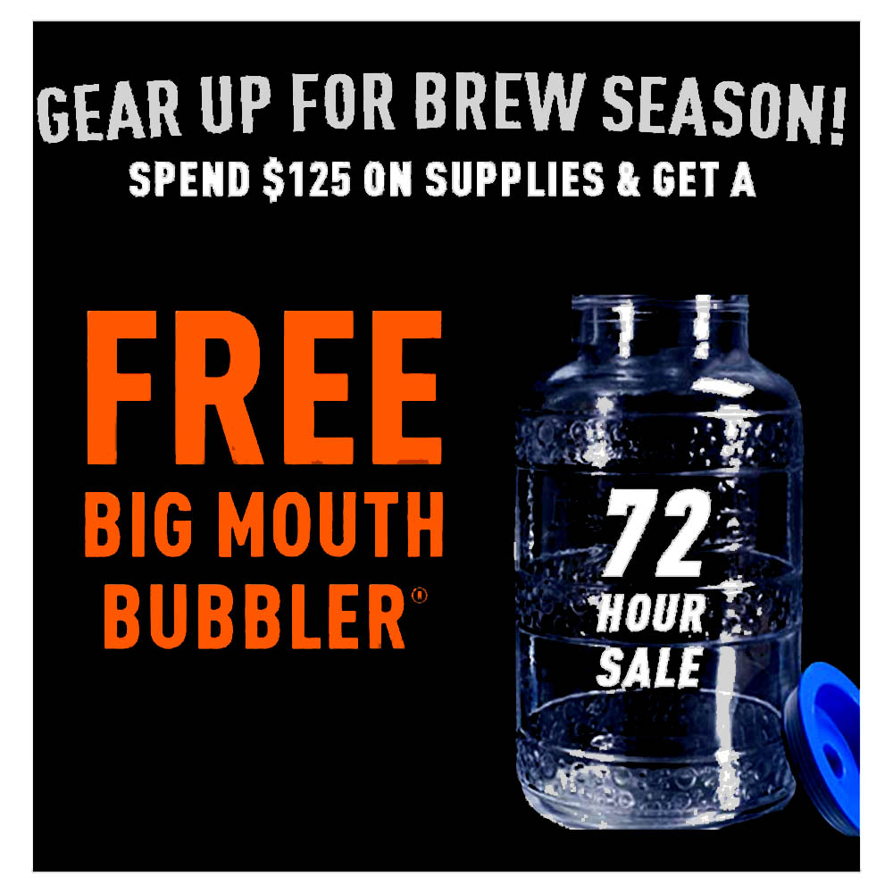 Home Brewer Promo Code for GET A FREE BIG MOUTH BUBBLER CARBOY WITH A PURCHASE OVER $125 Coupon Code
