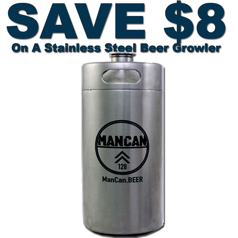 Home Brewer Promo Code for Save $8 On A Stainless Steel Beer Growler by Man Can Coupon Code