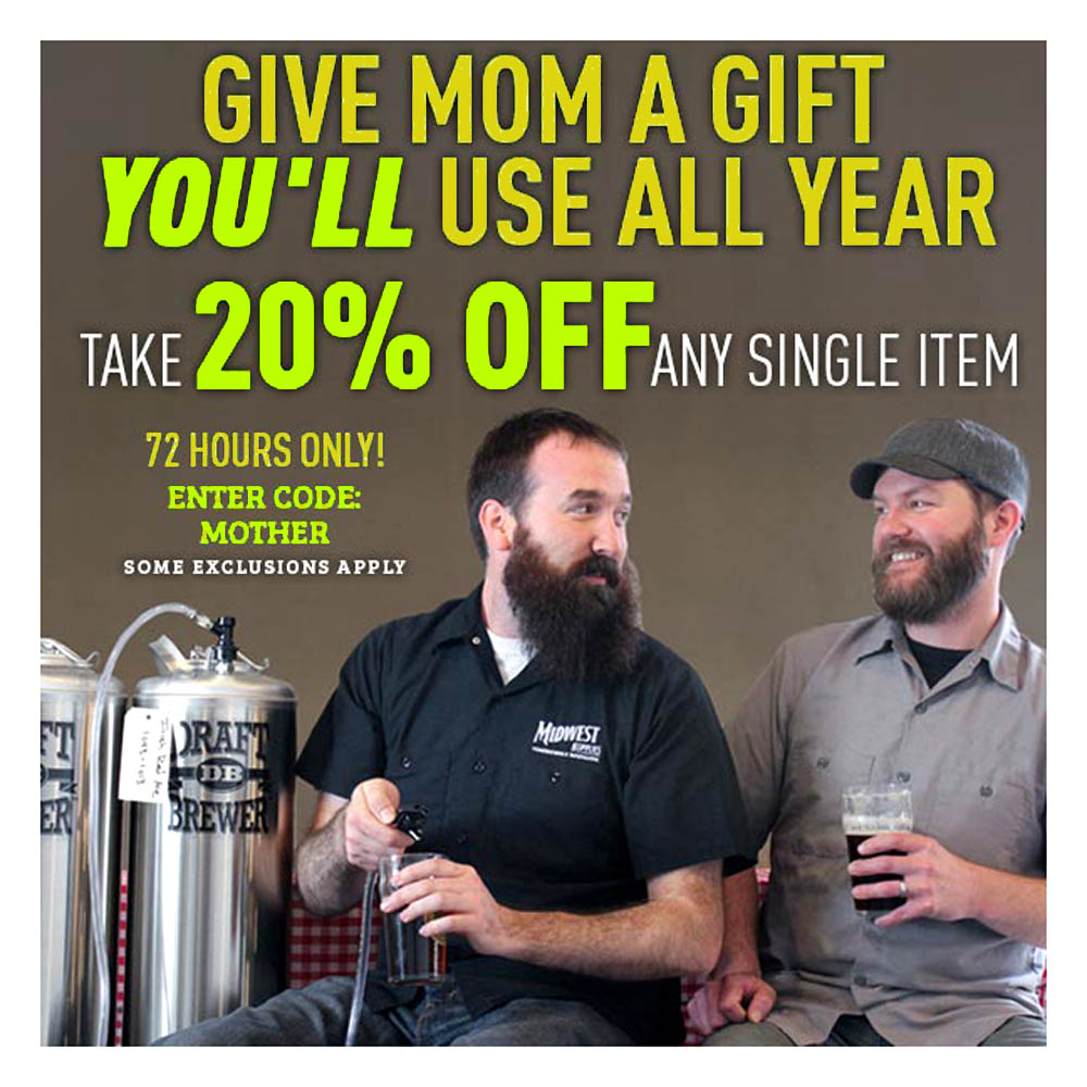 Home Brewer Promo Code for 20% Off Any One Homebrewing Item Promo Code Coupon Code