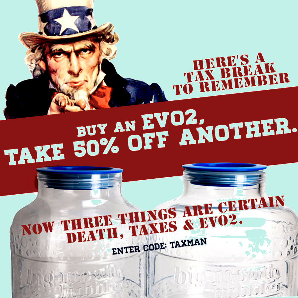 Home Brewer Promo Code for BUY AN EVO 2 WIDE MOUTH FERMENTER AND TAKE 50% OFF ANOTHER Coupon Code