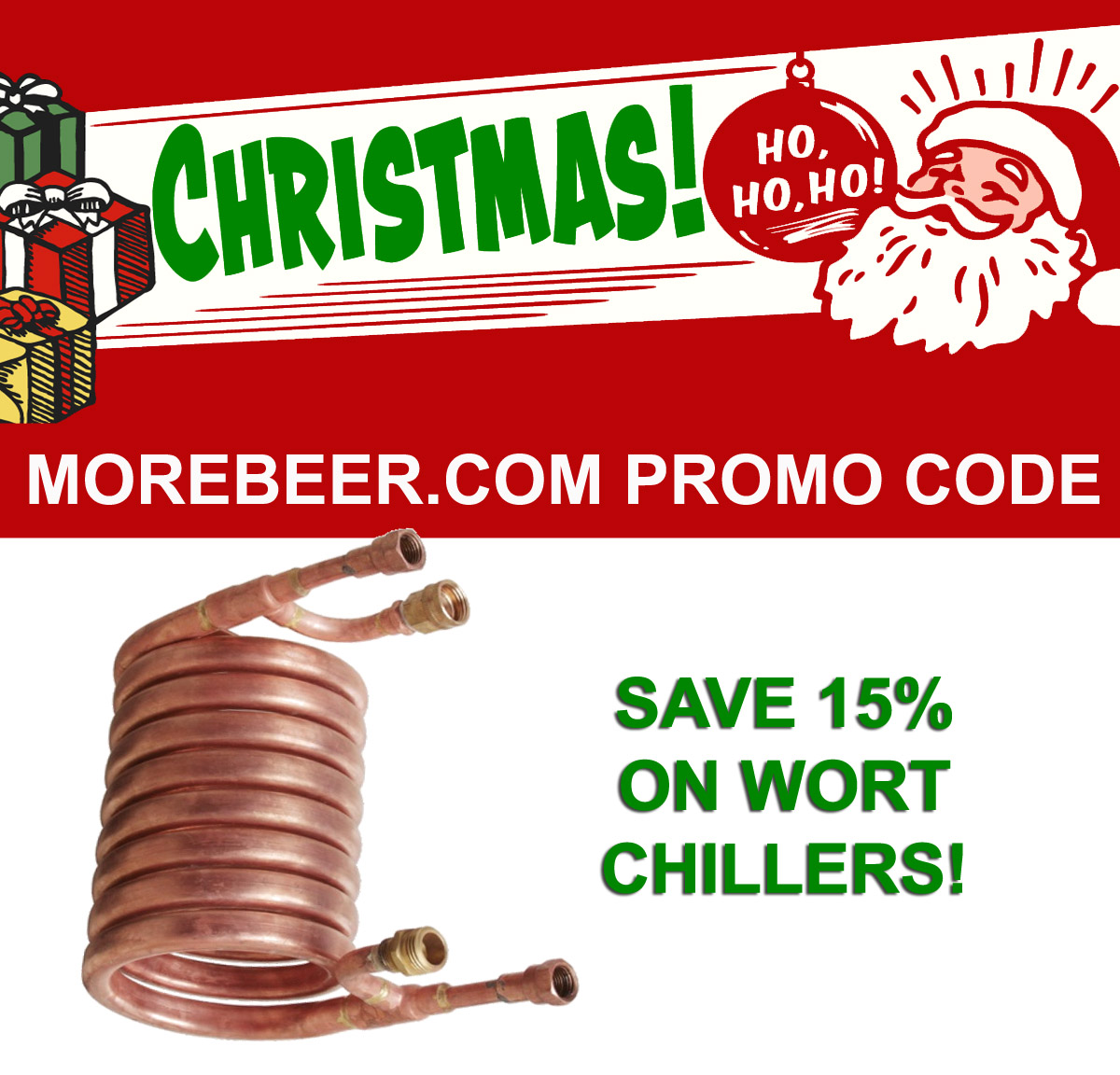 Home Brewer Promo Code for Save 15% On Wort Chillers Today Only At MoreBeer! Coupon Code