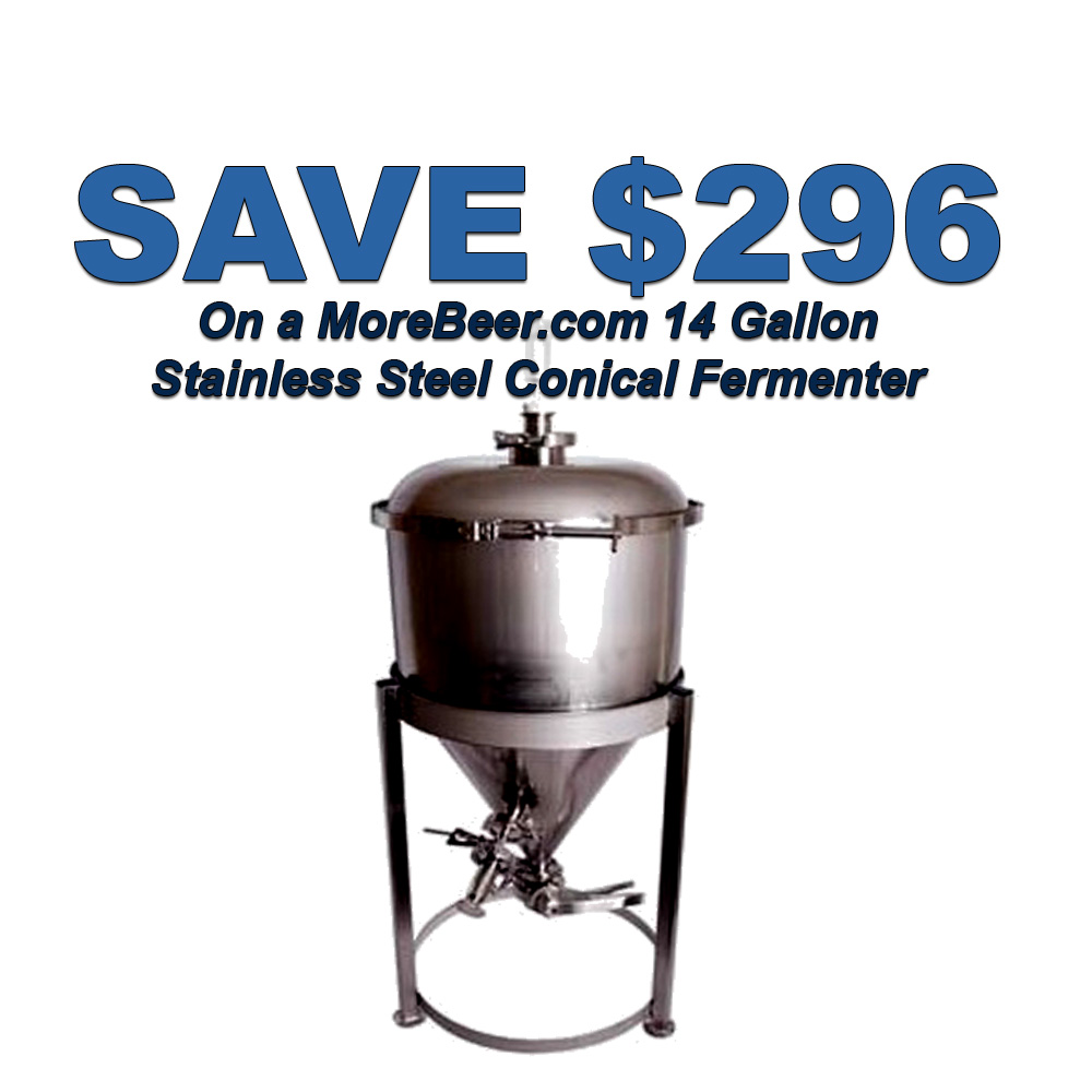 Home Brewer Promo Code for Save $296 On A MoreBeer Stainless Steel Conical Fermenter Coupon Code