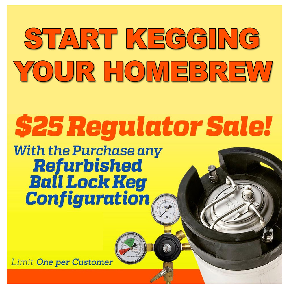 Home Brewer Promo Code for Purchase a Refurbished Ball Lock Keg And Get A New Regulator For Just $25 Coupon Code