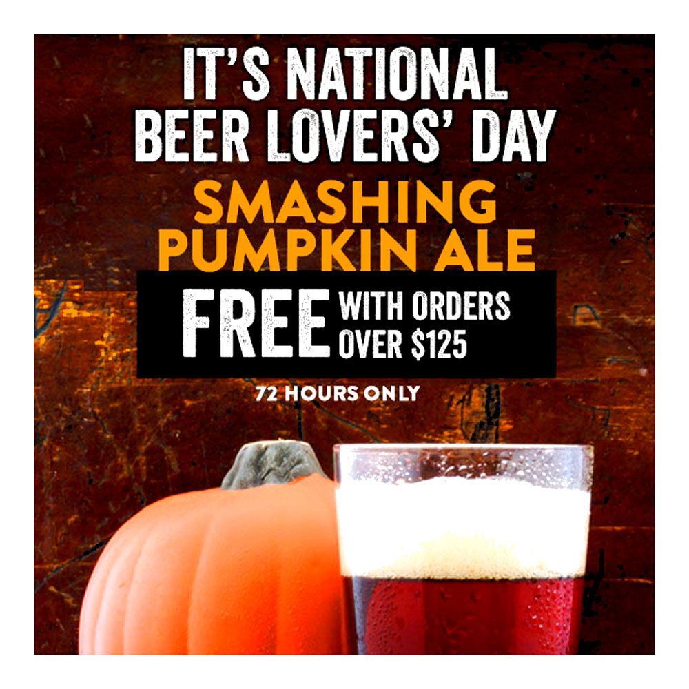 Home Brewer Promo Code for GET A FREE SMASHING PUMPKIN ALE WITH ORDERS OVER $125 Coupon Code