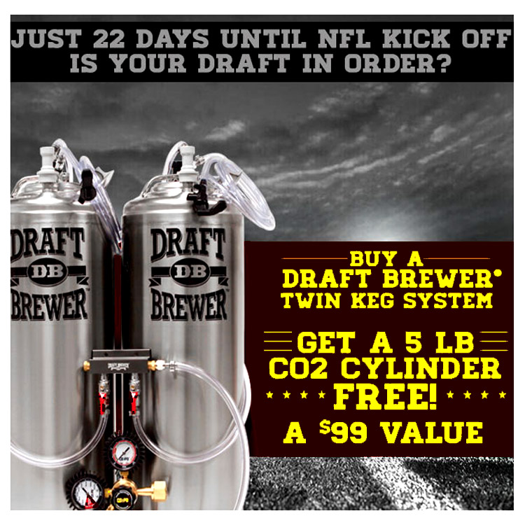 Home Brewer Promo Code for Free CO2 Tank with $300 Draft Beer System Order Coupon Code