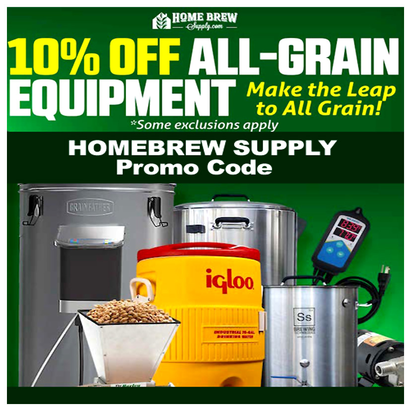 Homebrew Supply Save 10% On All Grain Brewing Equipment and Supplies Coupon Code