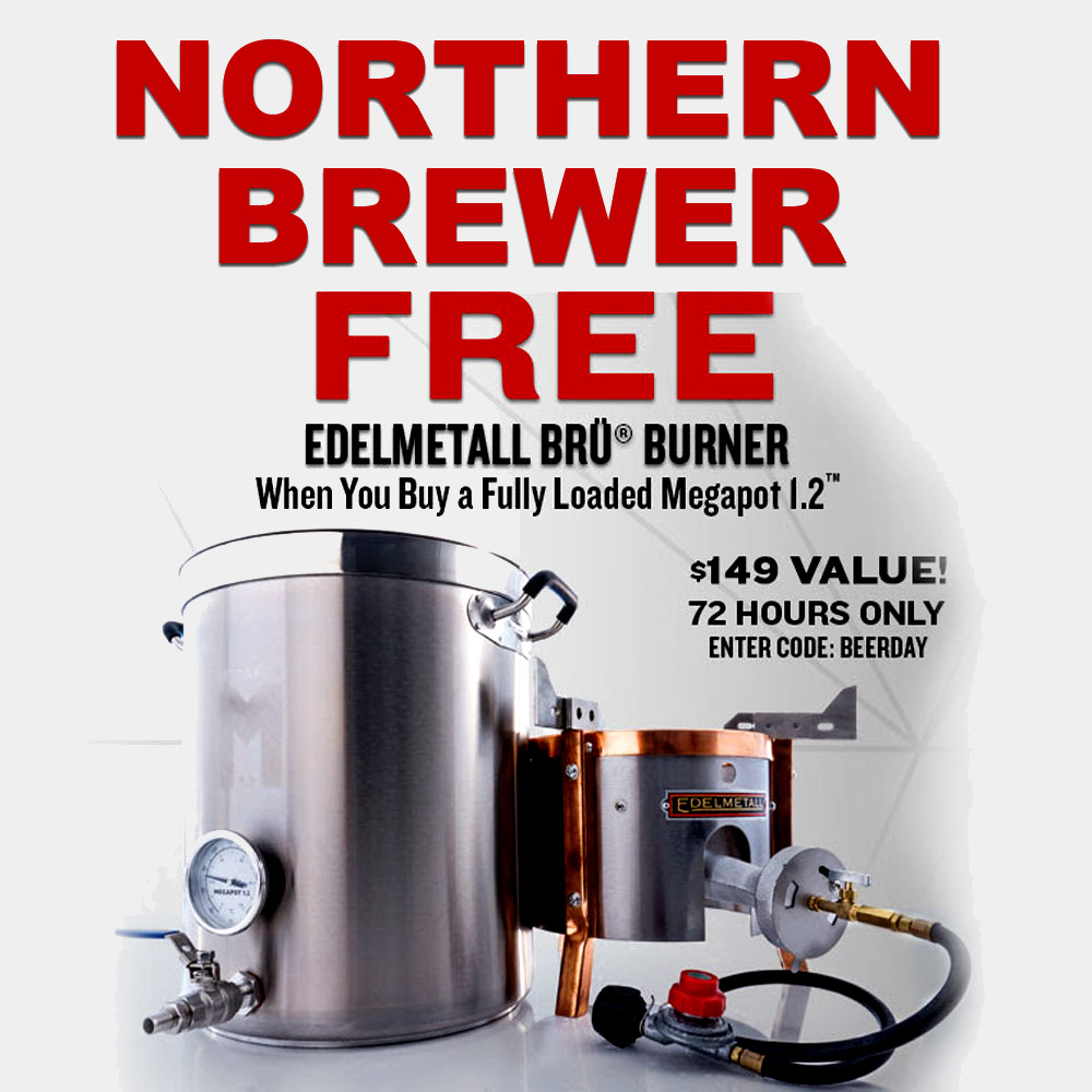 Home Brewer Promo Code for FREE burner with the purchase of a fully loaded Megapot Brew Kettle Coupon Code