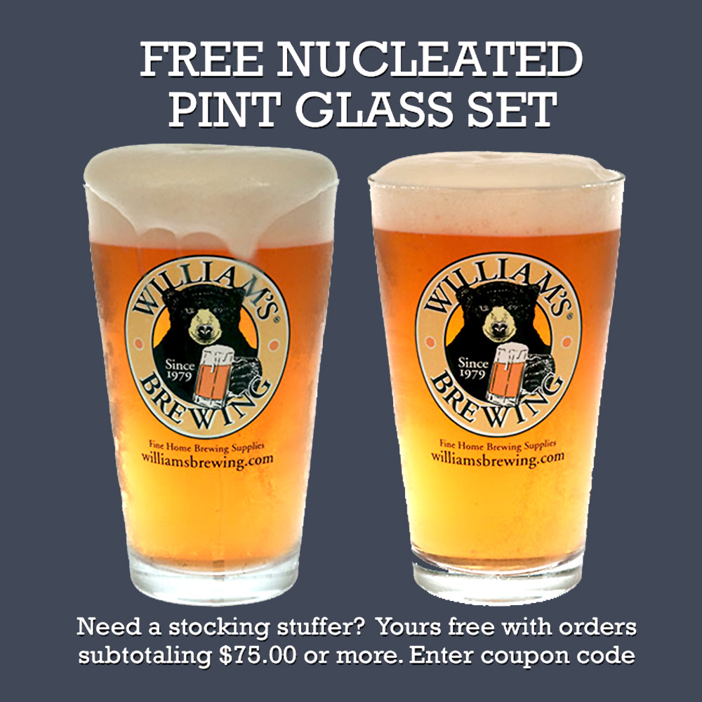 Home Brewer Promo Code for Get a Free Pair Of Pint Glasses at Williams Brewing Coupon Code