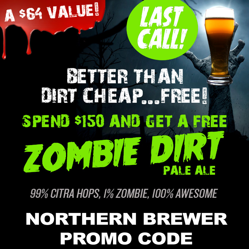 Home Brewer Promo Code for Get a Zombie Bust Clone Beer Kit with a $150+ Purchase Coupon Code