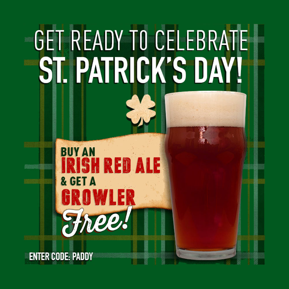 Coupon Code For FREE GROWLER WITH PURCHASE OF AN IRISH RED ALE Coupon Code