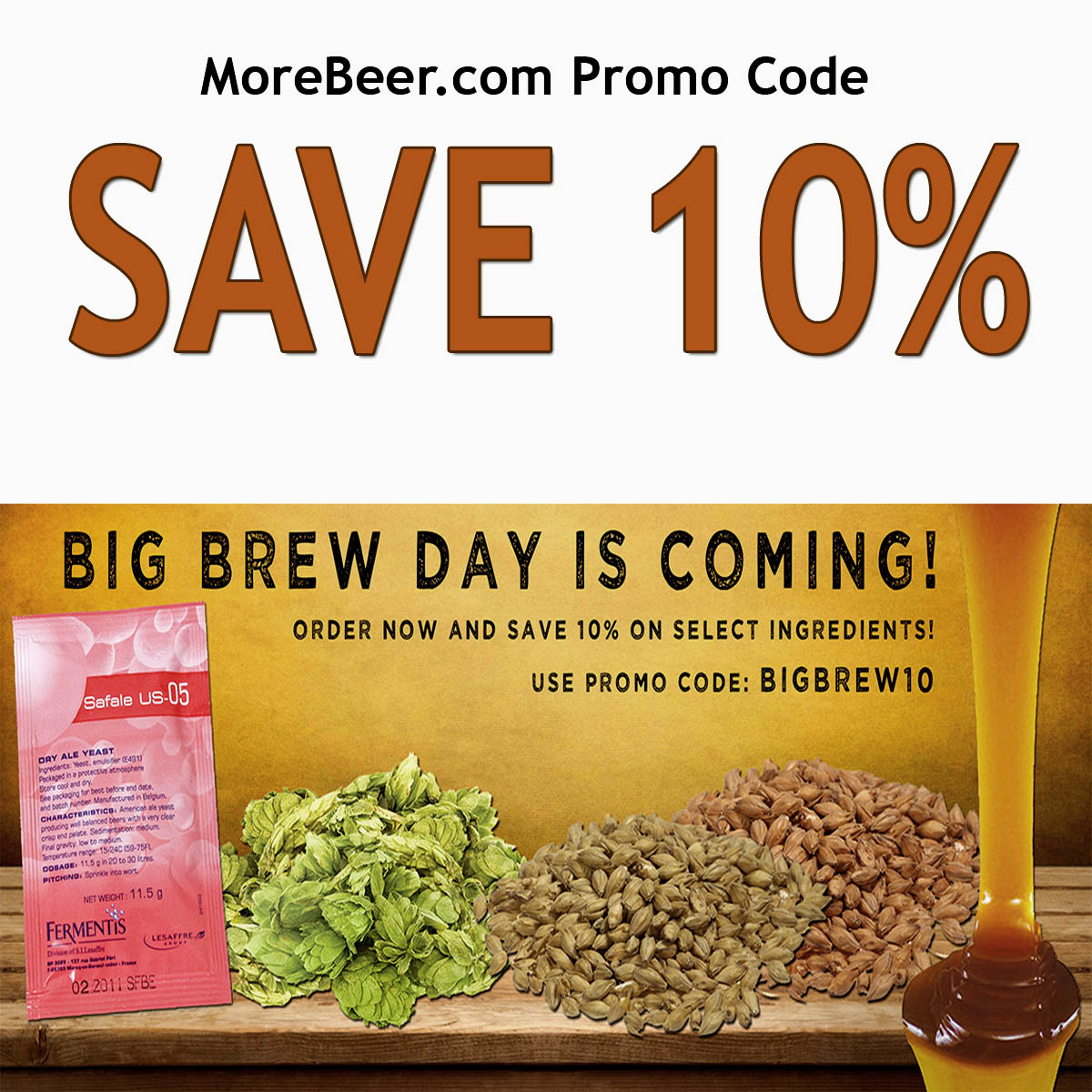 Coupon Code For Save 10% On Select Home Brewing Ingredients With This MoreBeer.com Promo Code Coupon Code