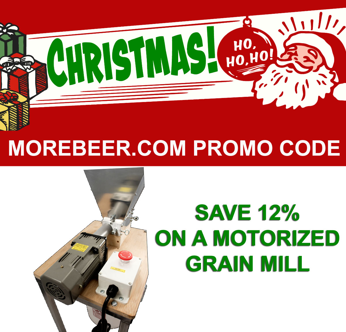 Coupon Code For Save 12% On A Motorized Malt Mill at More Beer! Coupon Code