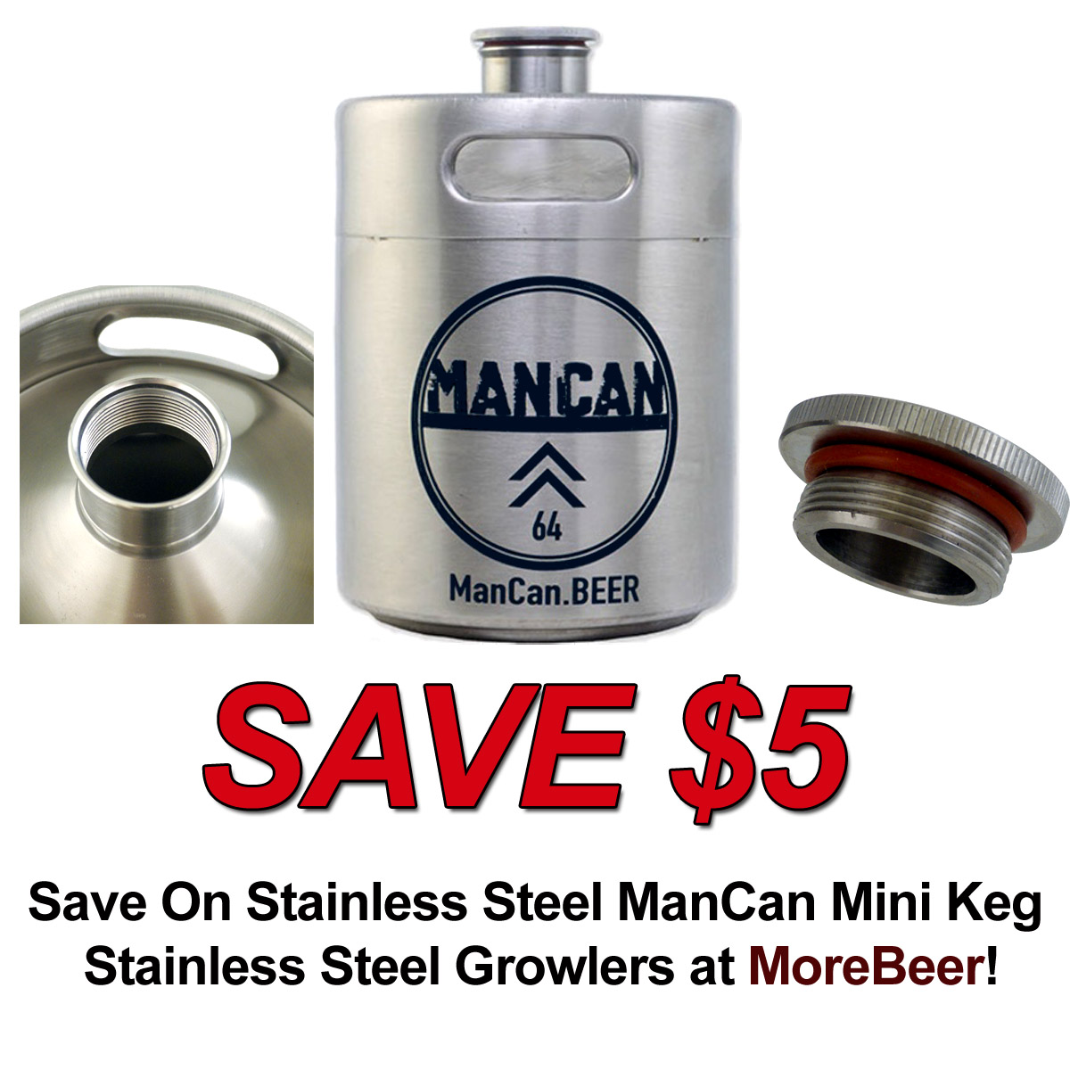 Coupon Code For Save $5 On a Stainless Steel ManCan Mini Keg Growler Coupon Code