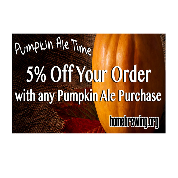 Sale For Get a 5 Gallon Pumpkin Beer Kit for $15 and 5% Off Site Wide Sale