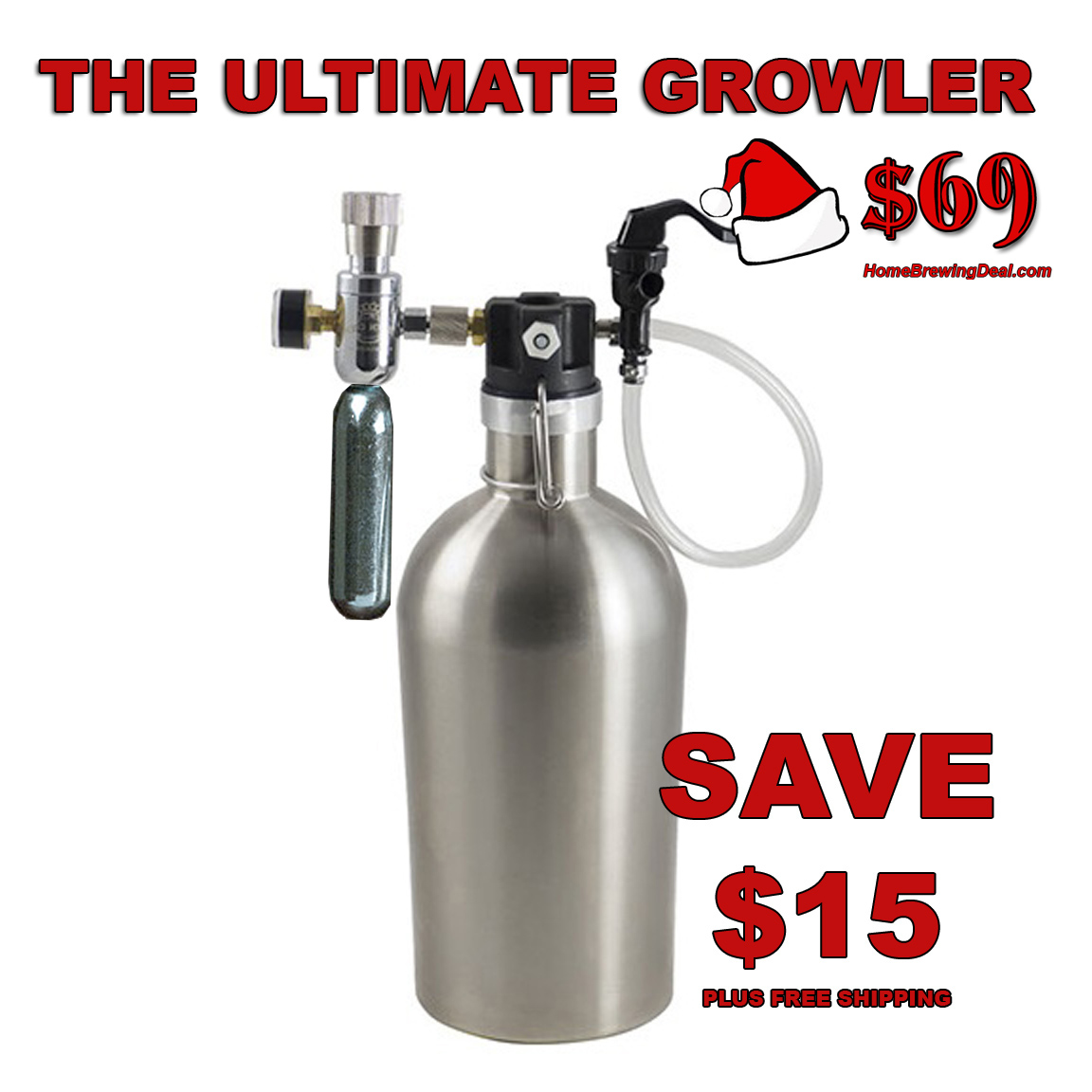 Coupon Code For Save $15 On A New Ultimate Stainless Steel Growler With CO2 Regulator, Just $69 and Ships Free Coupon Code